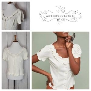 Anthropologie Maeve Aseey Scalloped Top